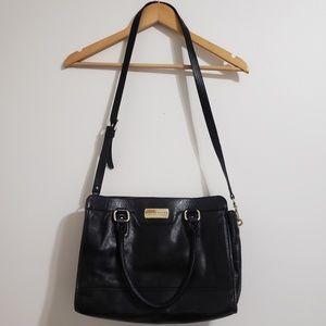 Cole Haan | Black Leather Satchel Crossbody Bag